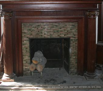 wood tile fireplace